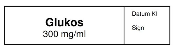 ETIKETT GLUKOS 300MG/ML