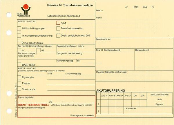 REM TILL TRANSFUSIONSMEDICIN RV