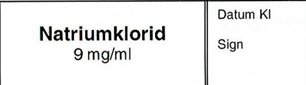 ETIKETT NATRIUMKLORID 9MG/ML